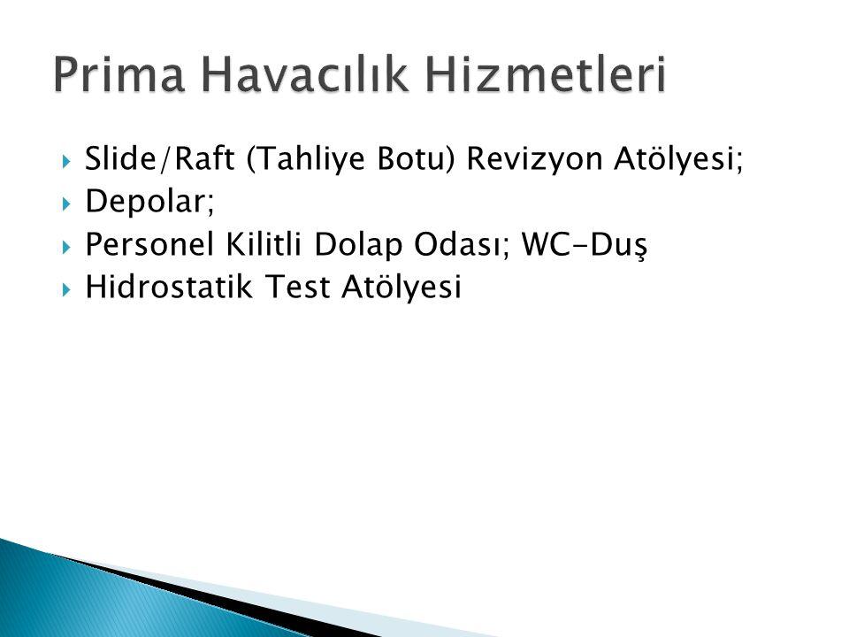  Slide/Raft (Tahliye Botu) Revizyon Atölyesi;  Depolar;  Personel Kilitli Dolap Odası; WC-Duş  Hidrostatik Test Atölyesi