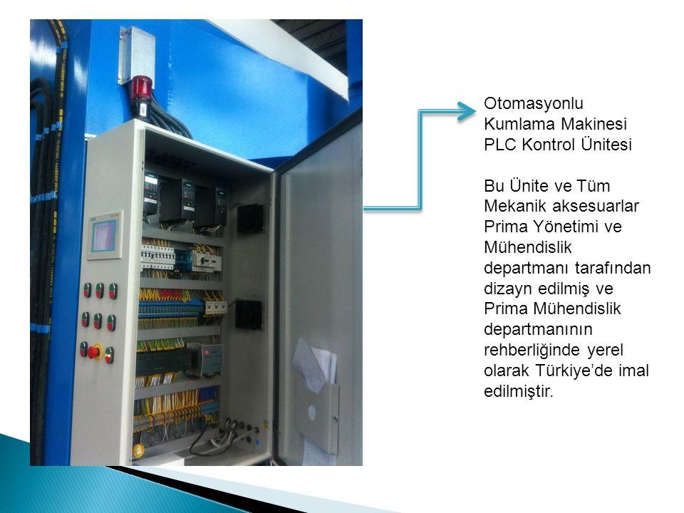 Otomasyonlu Kumlama Makinesi PLC Kontrol Ünitesi Bu Ünite ve Tüm Mekanik aksesuarlar Prima Yönetimi ve Mühendislik departmanı tarafından dizayn edilmiş ve Prima Mühendislik departmanının rehberliğinde yerel olarak Türkiye'de imal edilmiştir.
