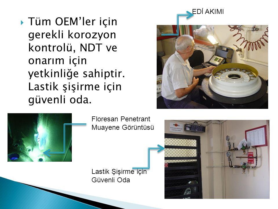  Tüm OEM'ler için gerekli korozyon kontrolü, NDT ve onarım için yetkinliğe sahiptir.