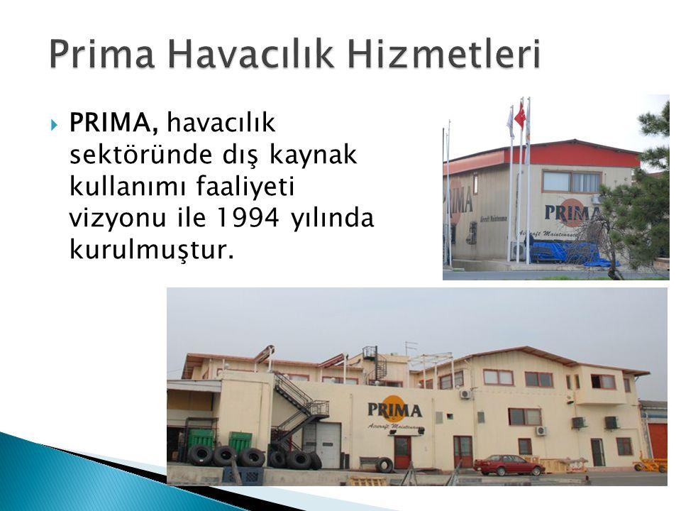  PRIMA, havacılık sektöründe dış kaynak kullanımı faaliyeti vizyonu ile 1994 yılında kurulmuştur.