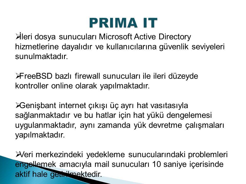  İleri dosya sunucuları Microsoft Active Directory hizmetlerine dayalıdır ve kullanıcılarına güvenlik seviyeleri sunulmaktadır.  FreeBSD bazlı firew