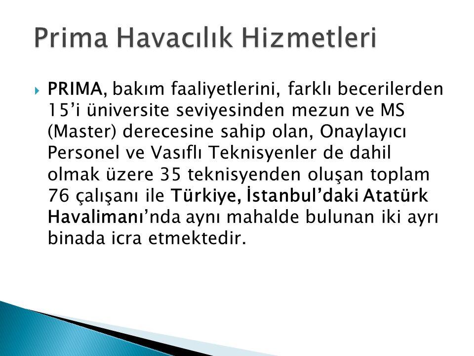  PRIMA, bakım faaliyetlerini, farklı becerilerden 15'i üniversite seviyesinden mezun ve MS (Master) derecesine sahip olan, Onaylayıcı Personel ve Vasıflı Teknisyenler de dahil olmak üzere 35 teknisyenden oluşan toplam 76 çalışanı ile Türkiye, İstanbul'daki Atatürk Havalimanı'nda aynı mahalde bulunan iki ayrı binada icra etmektedir.