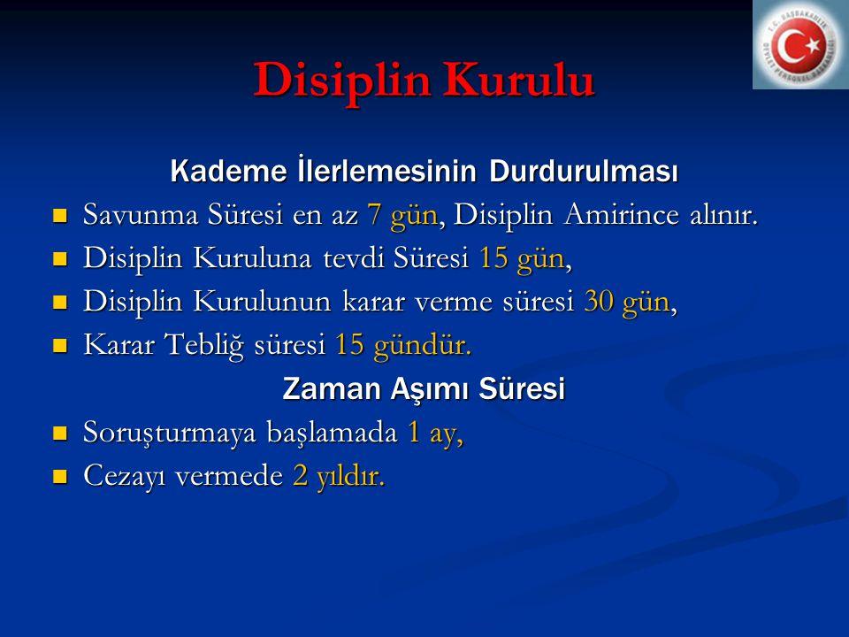 Disiplin Kurulu Kademe İlerlemesinin Durdurulması  Savunma Süresi en az 7 gün, Disiplin Amirince alınır.