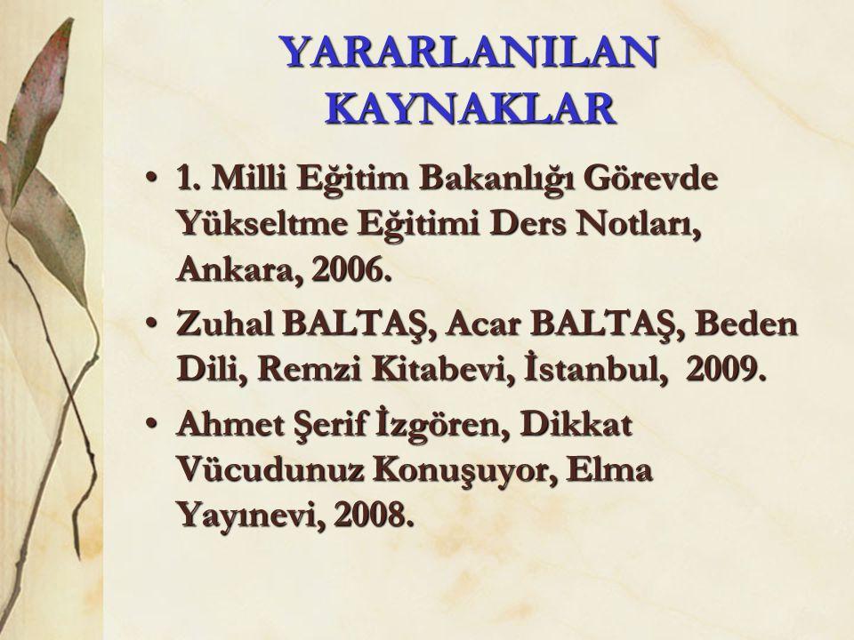 YARARLANILAN KAYNAKLAR •1. Milli Eğitim Bakanlığı Görevde Yükseltme Eğitimi Ders Notları, Ankara, 2006. •Zuhal BALTAŞ, Acar BALTAŞ, Beden Dili, Remzi