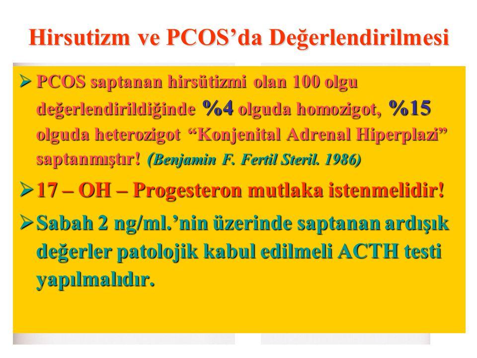 """Hirsutizm ve PCOS'da Değerlendirilmesi  PCOS saptanan hirsütizmi olan 100 olgu değerlendirildiğinde %4 olguda homozigot, %15 olguda heterozigot """"Konj"""