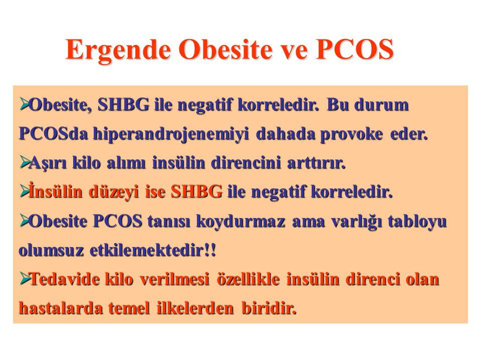 Ergende Obesite ve PCOS  PCOS ergenlerde obesite sıklığı %50 – 60 arasında değişmektedir.  PCOS olgularda artan androjen düzeyine ikincil olarak erk