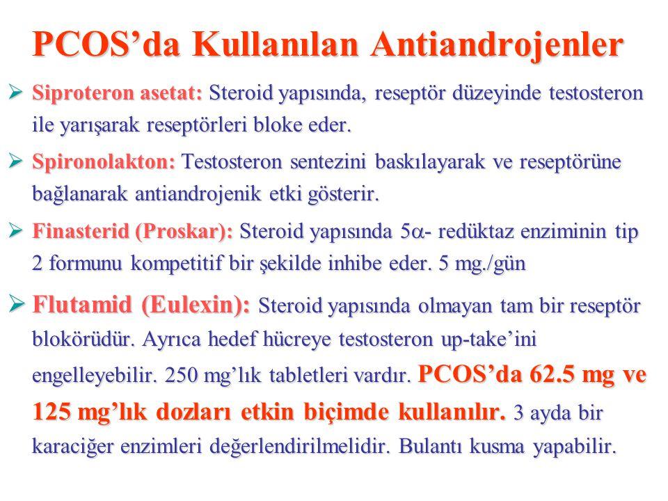 PCOS'da Kullanılan Antiandrojenler  Siproteron asetat: Steroid yapısında, reseptör düzeyinde testosteron ile yarışarak reseptörleri bloke eder.  Spi
