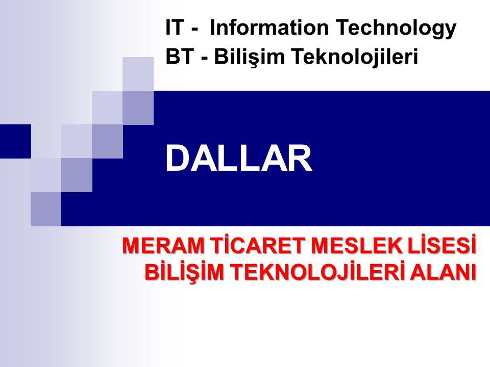 DALLAR IT - Information Technology BT - Bilişim Teknolojileri MERAM TİCARET MESLEK LİSESİ BİLİŞİM TEKNOLOJİLERİ ALANI