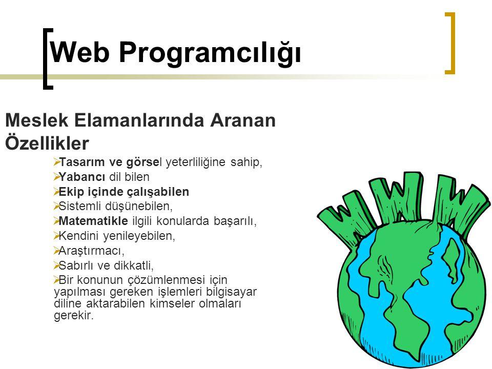 Web Programcılığı Meslek Elamanlarında Aranan Özellikler  Tasarım ve görsel yeterliliğine sahip,  Yabancı dil bilen  Ekip içinde çalışabilen  Sist