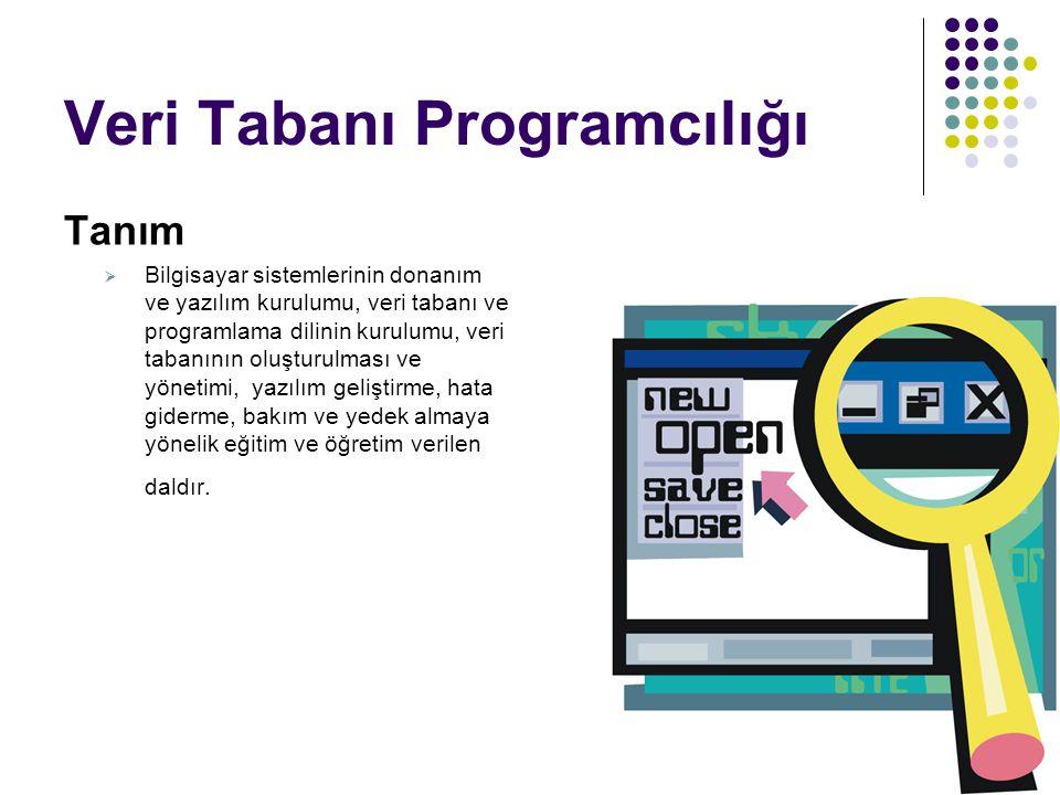 Veri Tabanı Programcılığı Tanım  Bilgisayar sistemlerinin donanım ve yazılım kurulumu, veri tabanı ve programlama dilinin kurulumu, veri tabanının ol