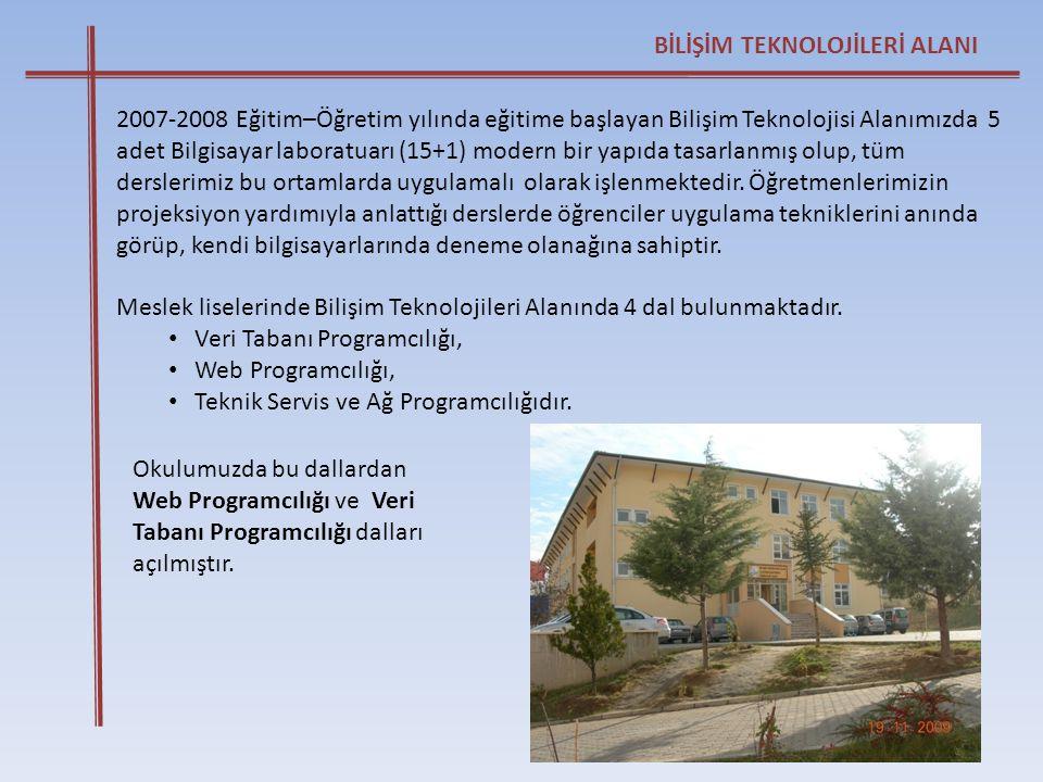 BİLİŞİM TEKNOLOJİLERİ ALANI 2007-2008 Eğitim–Öğretim yılında eğitime başlayan Bilişim Teknolojisi Alanımızda 5 adet Bilgisayar laboratuarı (15+1) mode