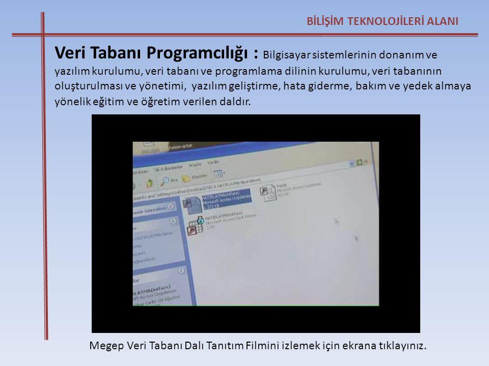 BİLİŞİM TEKNOLOJİLERİ ALANI Megep Veri Tabanı Dalı Tanıtım Filmini izlemek için ekrana tıklayınız. Veri Tabanı Programcılığı : Bilgisayar sistemlerini