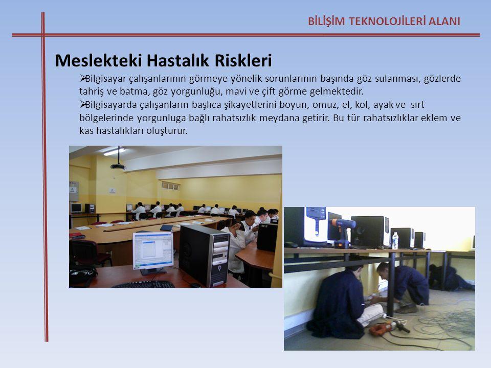 BİLİŞİM TEKNOLOJİLERİ ALANI Meslekteki Hastalık Riskleri  Bilgisayar çalışanlarının görmeye yönelik sorunlarının başında göz sulanması, gözlerde tahr
