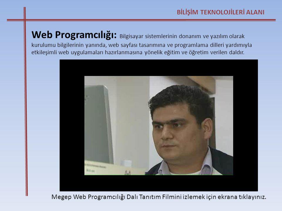BİLİŞİM TEKNOLOJİLERİ ALANI Megep Web Programcılığı Dalı Tanıtım Filmini izlemek için ekrana tıklayınız. Web Programcılığı: Bilgisayar sistemlerinin d