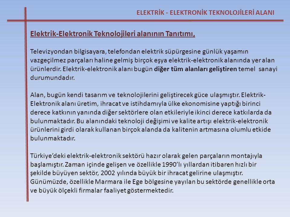 ELEKTRİK - ELEKTRONİK TEKNOLOJİLERİ ALANI Elektrik-Elektronik Teknolojileri alanının Tanıtımı, Televizyondan bilgisayara, telefondan elektrik süpürges