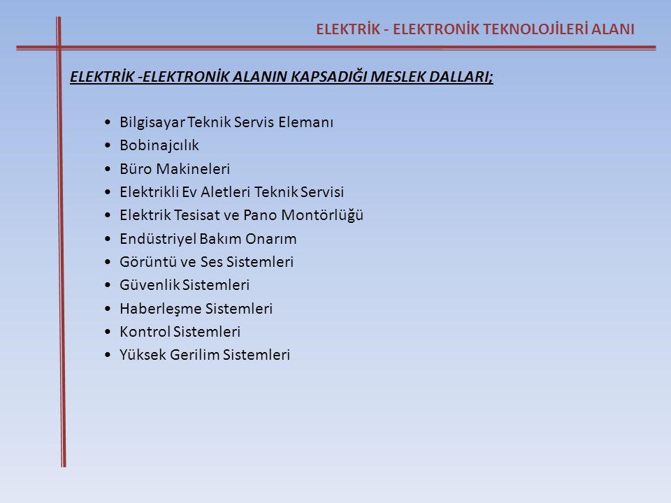 ELEKTRİK - ELEKTRONİK TEKNOLOJİLERİ ALANI ELEKTRİK -ELEKTRONİK ALANIN KAPSADIĞI MESLEK DALLARI; • Bilgisayar Teknik Servis Elemanı • Bobinajcılık • Bü