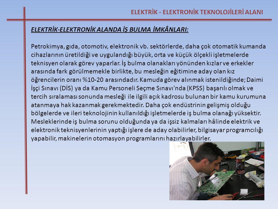 ELEKTRİK - ELEKTRONİK TEKNOLOJİLERİ ALANI ELEKTRİK-ELEKTRONİK ALANDA İŞ BULMA İMKÂNLARI: Petrokimya, gıda, otomotiv, elektronik vb. sektörlerde, daha
