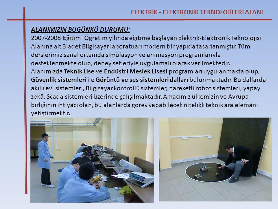 ELEKTRİK - ELEKTRONİK TEKNOLOJİLERİ ALANI ALANIMIZIN BUGÜNKÜ DURUMU: 2007-2008 Eğitim–Öğretim yılında eğitime başlayan Elektrik-Elektronik Teknolojisi