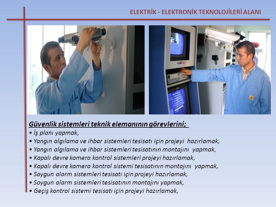 ELEKTRİK - ELEKTRONİK TEKNOLOJİLERİ ALANI Güvenlik sistemleri teknik elemanının görevlerini; • İş planı yapmak, • Yangın algılama ve ihbar sistemleri
