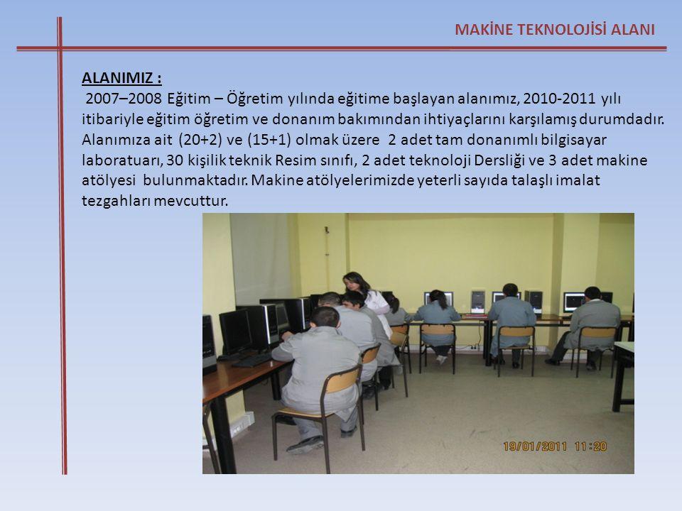 ALANIMIZ : 2007–2008 Eğitim – Öğretim yılında eğitime başlayan alanımız, 2010-2011 yılı itibariyle eğitim öğretim ve donanım bakımından ihtiyaçlarını