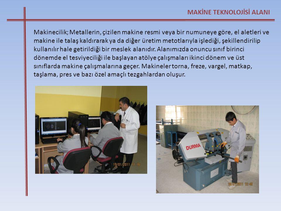Makinecilik; Metallerin, çizilen makine resmi veya bir numuneye göre, el aletleri ve makine ile talaş kaldırarak ya da diğer üretim metotlarıyla işled