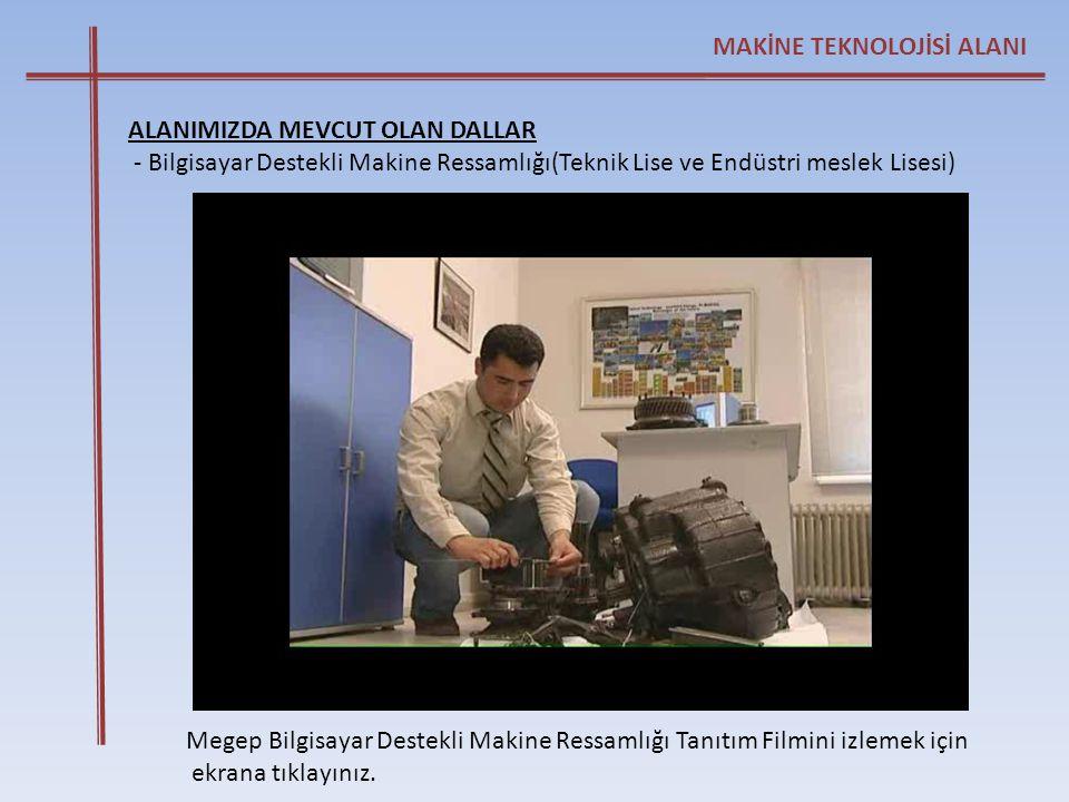 Megep Bilgisayar Destekli Makine Ressamlığı Tanıtım Filmini izlemek için ekrana tıklayınız. MAKİNE TEKNOLOJİSİ ALANI ALANIMIZDA MEVCUT OLAN DALLAR - B