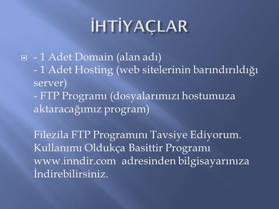  - 1 Adet Domain (alan adı) - 1 Adet Hosting (web sitelerinin barındırıldığı server) - FTP Programı (dosyalarımızı hostumuza aktaracağımız program) Filezila FTP Programını Tavsiye Ediyorum.