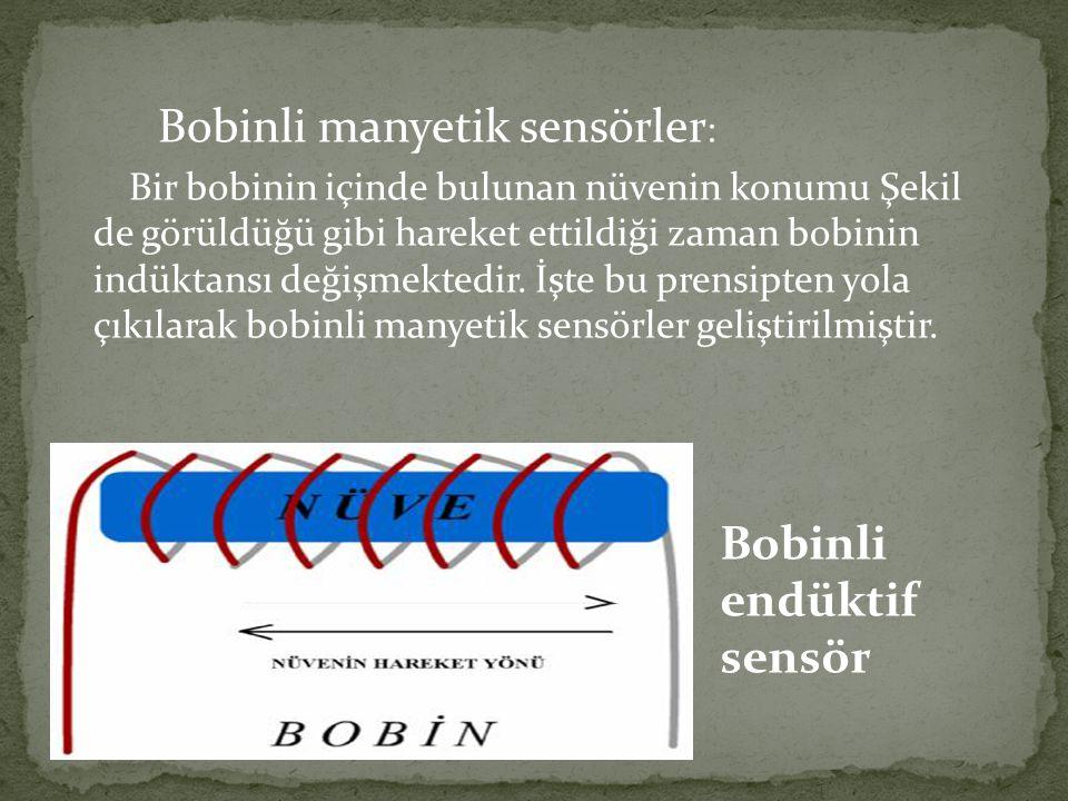 Bobinli manyetik sensörler : Bir bobinin içinde bulunan nüvenin konumu Şekil de görüldüğü gibi hareket ettildiği zaman bobinin indüktansı değişmektedi