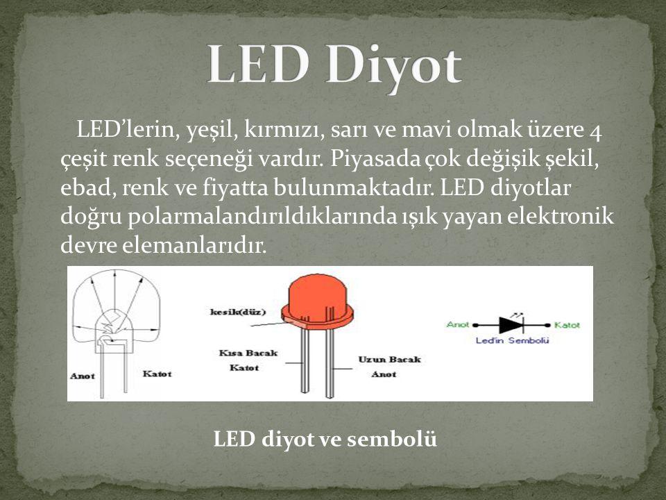 LED'lerin, yeşil, kırmızı, sarı ve mavi olmak üzere 4 çeşit renk seçeneği vardır. Piyasada çok değişik şekil, ebad, renk ve fiyatta bulunmaktadır. LED