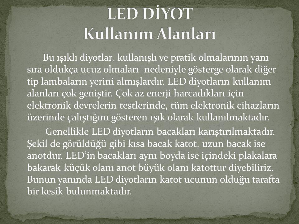 Bu ışıklı diyotlar, kullanışlı ve pratik olmalarının yanı sıra oldukça ucuz olmaları nedeniyle gösterge olarak diğer tip lambaların yerini almışlardır