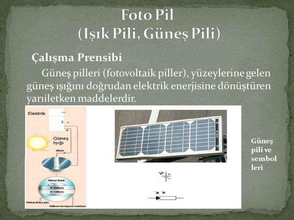 Çalışma Prensibi Güneş pilleri (fotovoltaik piller), yüzeylerine gelen güneş ışığını doğrudan elektrik enerjisine dönüştüren yarıiletken maddelerdir.