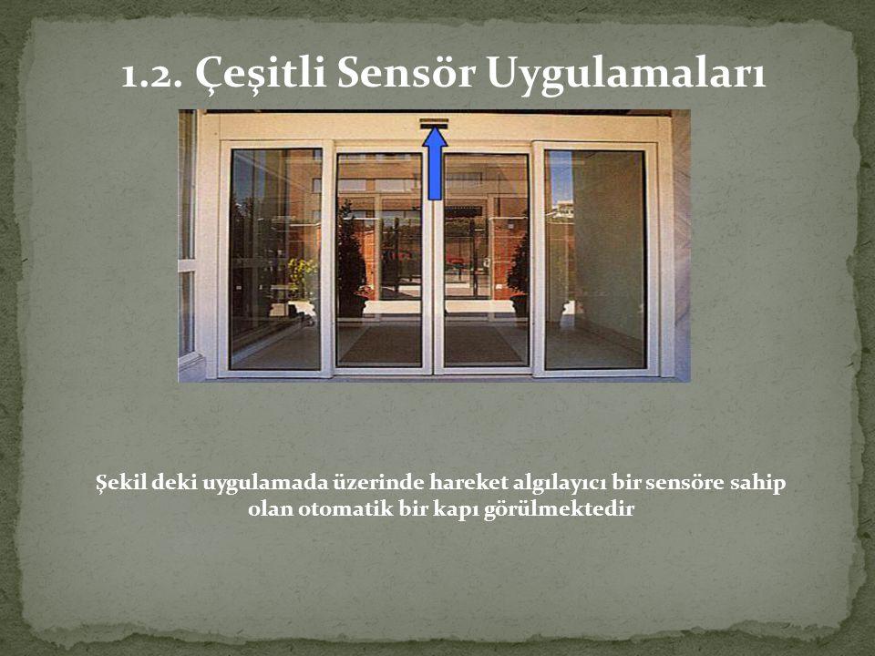 Şekil deki uygulamada üzerinde hareket algılayıcı bir sensöre sahip olan otomatik bir kapı görülmektedir 1.2. Çeşitli Sensör Uygulamaları