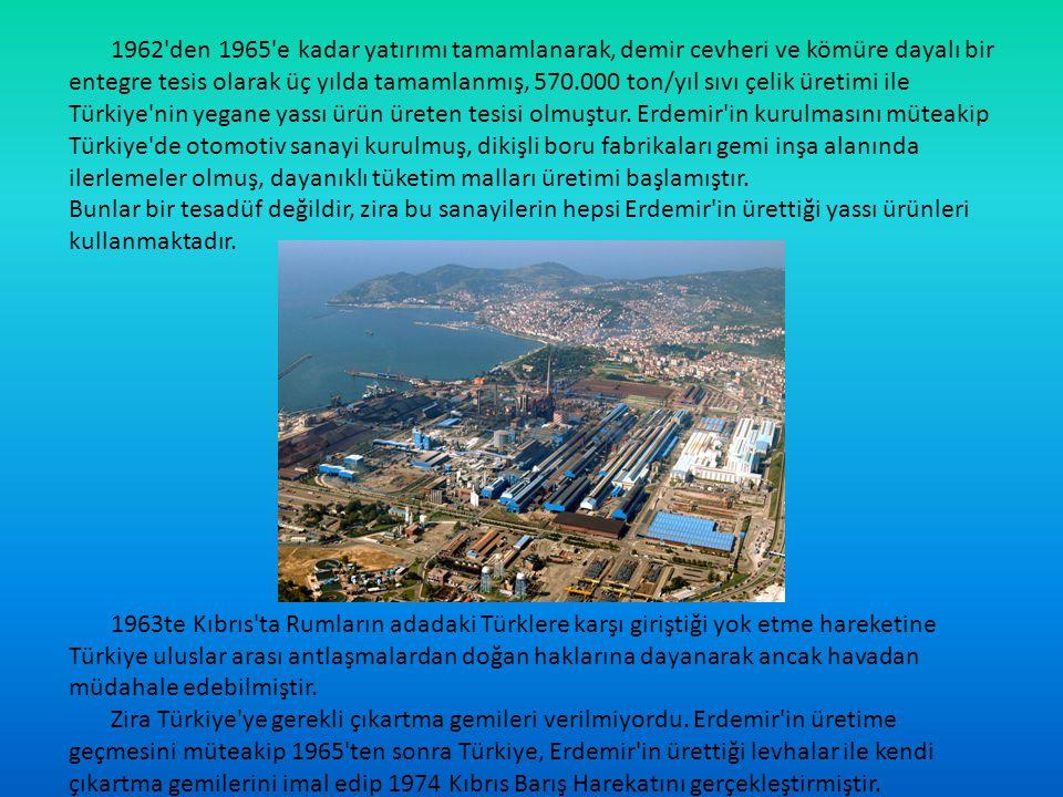 1962'den 1965'e kadar yatırımı tamamlanarak, demir cevheri ve kömüre dayalı bir entegre tesis olarak üç yılda tamamlanmış, 570.000 ton/yıl sıvı çelik