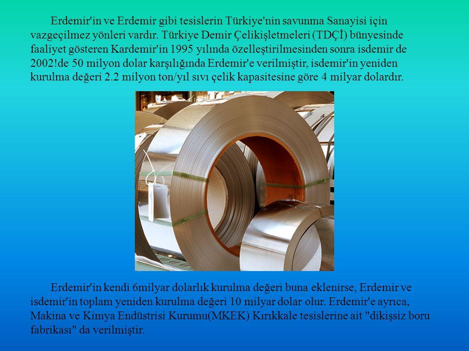 Erdemir'in ve Erdemir gibi tesislerin Türkiye'nin savunma Sanayisi için vazgeçilmez yönleri vardır. Türkiye Demir Çelikişletmeleri (TDÇİ) bünyesinde f