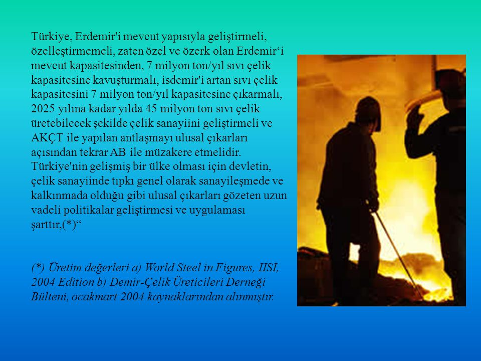 Türkiye, Erdemir'i mevcut yapısıyla geliştirmeli, özelleştirmemeli, zaten özel ve özerk olan Erdemir'i mevcut kapasitesinden, 7 milyon ton/yıl sıvı çe
