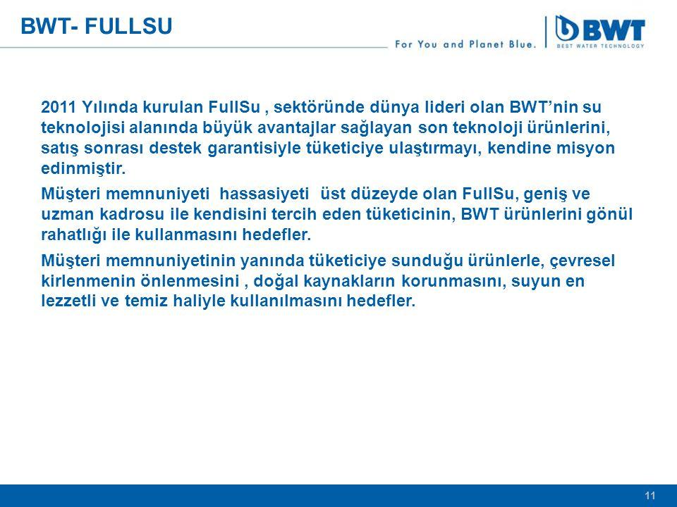 11 BWT- FULLSU 2011 Yılında kurulan FullSu, sektöründe dünya lideri olan BWT'nin su teknolojisi alanında büyük avantajlar sağlayan son teknoloji ürünlerini, satış sonrası destek garantisiyle tüketiciye ulaştırmayı, kendine misyon edinmiştir.