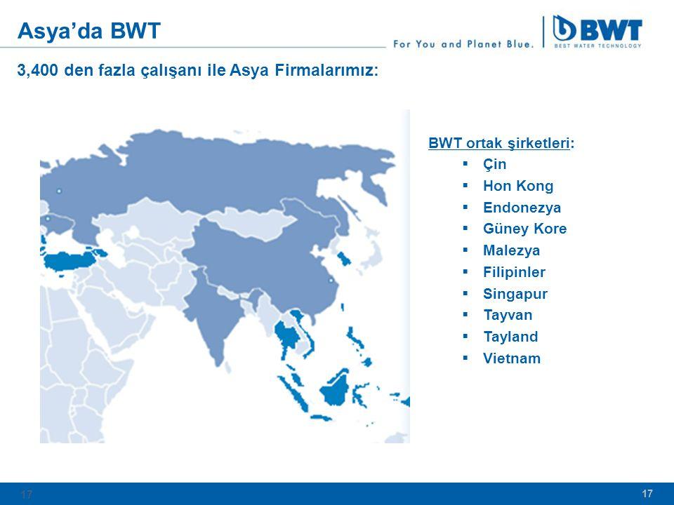 17 3,400 den fazla çalışanı ile Asya Firmalarımız: BWT ortak şirketleri:  Çin  Hon Kong  Endonezya  Güney Kore  Malezya  Filipinler  Singapur  Tayvan  Tayland  Vietnam Asya'da BWT 17