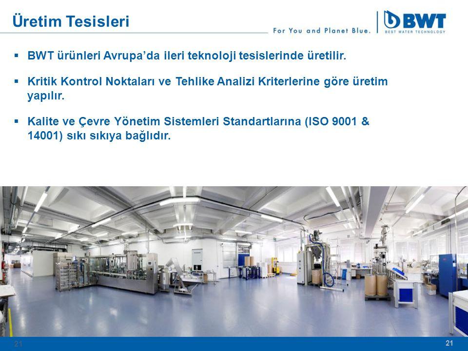 21  BWT ürünleri Avrupa'da ileri teknoloji tesislerinde üretilir.
