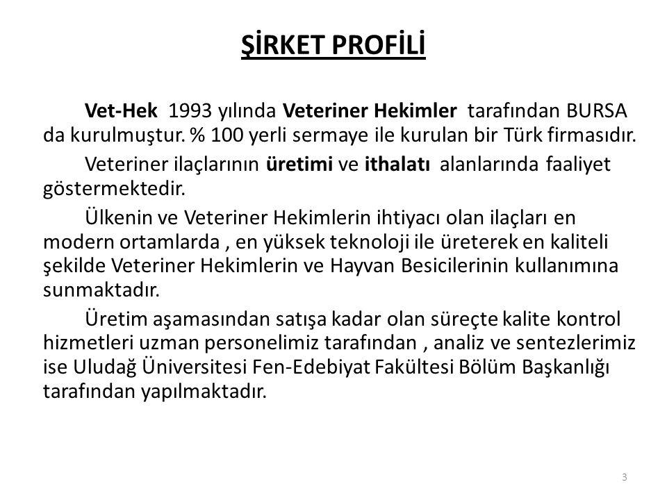 3 ŞİRKET PROFİLİ Vet-Hek 1993 yılında Veteriner Hekimler tarafından BURSA da kurulmuştur.
