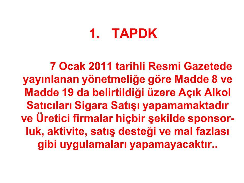 1. TAPDK 7 Ocak 2011 tarihli Resmi Gazetede yayınlanan yönetmeliğe göre Madde 8 ve Madde 19 da belirtildiği üzere Açık Alkol Satıcıları Sigara Satışı