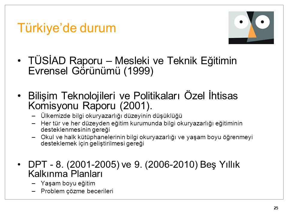 25 Türkiye'de durum •TÜSİAD Raporu – Mesleki ve Teknik Eğitimin Evrensel Görünümü (1999) •Bilişim Teknolojileri ve Politikaları Özel İhtisas Komisyonu
