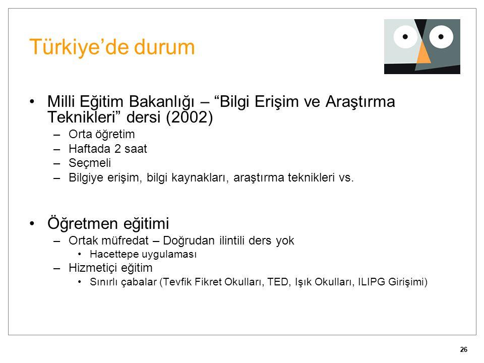 26 Türkiye'de durum •Milli Eğitim Bakanlığı – Bilgi Erişim ve Araştırma Teknikleri dersi (2002) –Orta öğretim –Haftada 2 saat –Seçmeli –Bilgiye erişim, bilgi kaynakları, araştırma teknikleri vs.