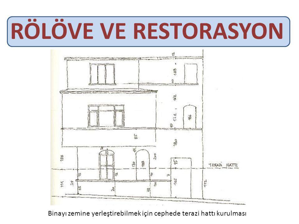 RÖLÖVE VE RESTORASYON Binayı zemine yerleştirebilmek için cephede terazi hattı kurulması