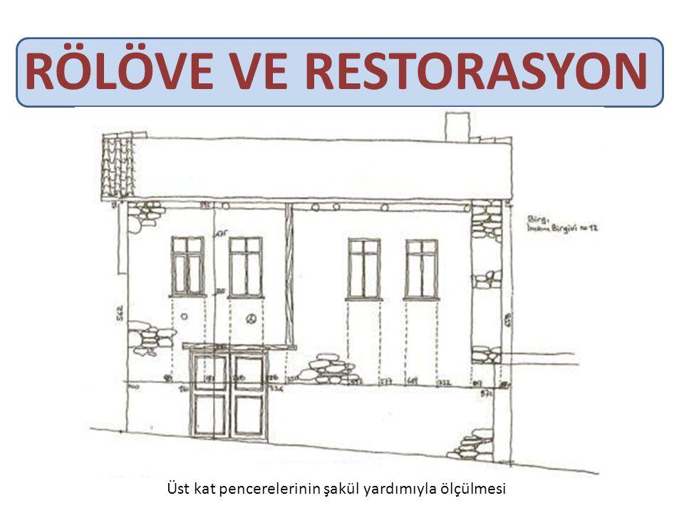 RÖLÖVE VE RESTORASYON Üst kat pencerelerinin şakül yardımıyla ölçülmesi