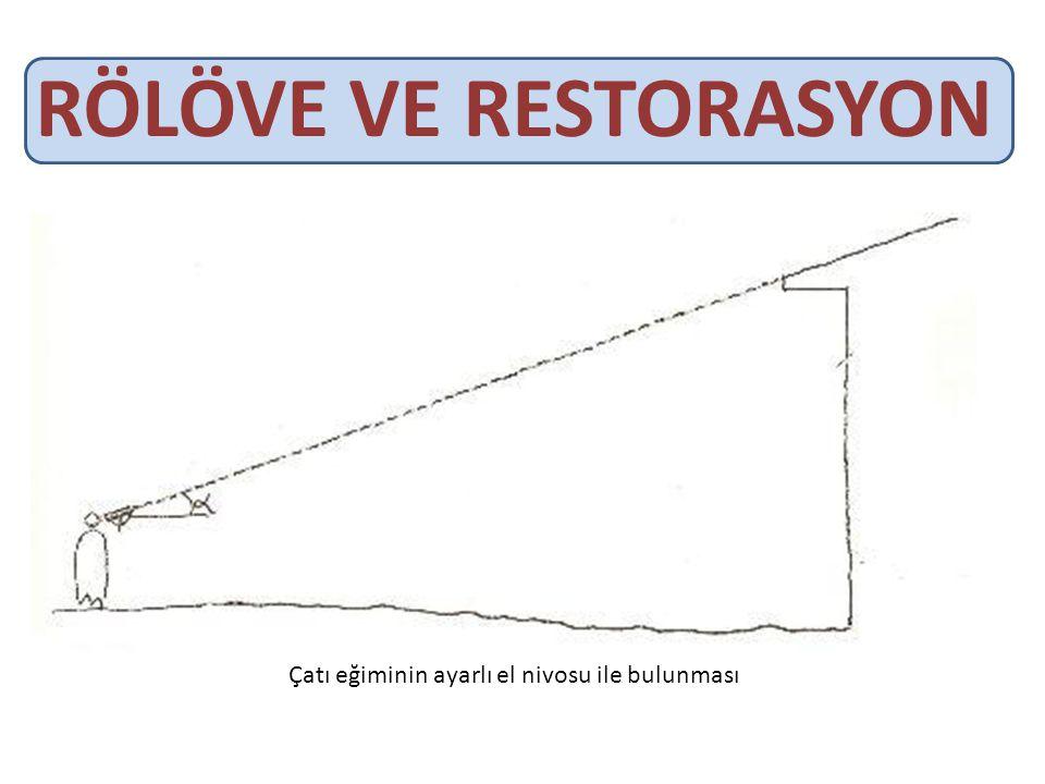 RÖLÖVE VE RESTORASYON Çatı eğiminin ayarlı el nivosu ile bulunması