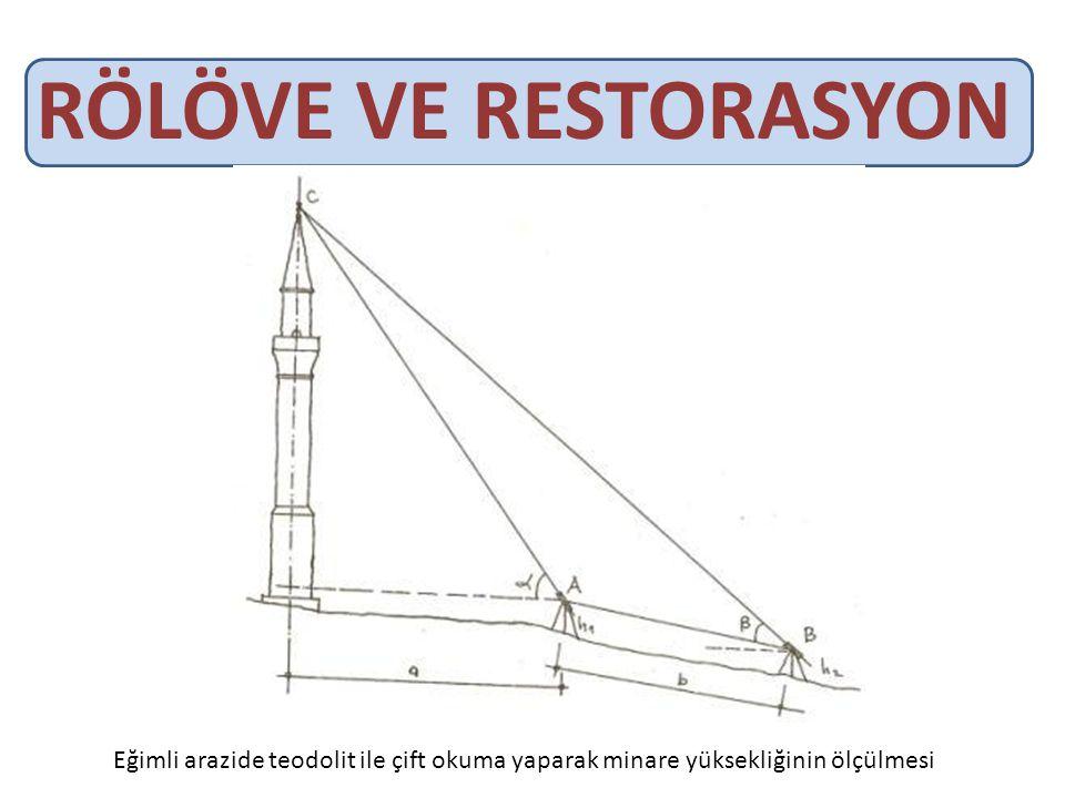 RÖLÖVE VE RESTORASYON Eğimli arazide teodolit ile çift okuma yaparak minare yüksekliğinin ölçülmesi