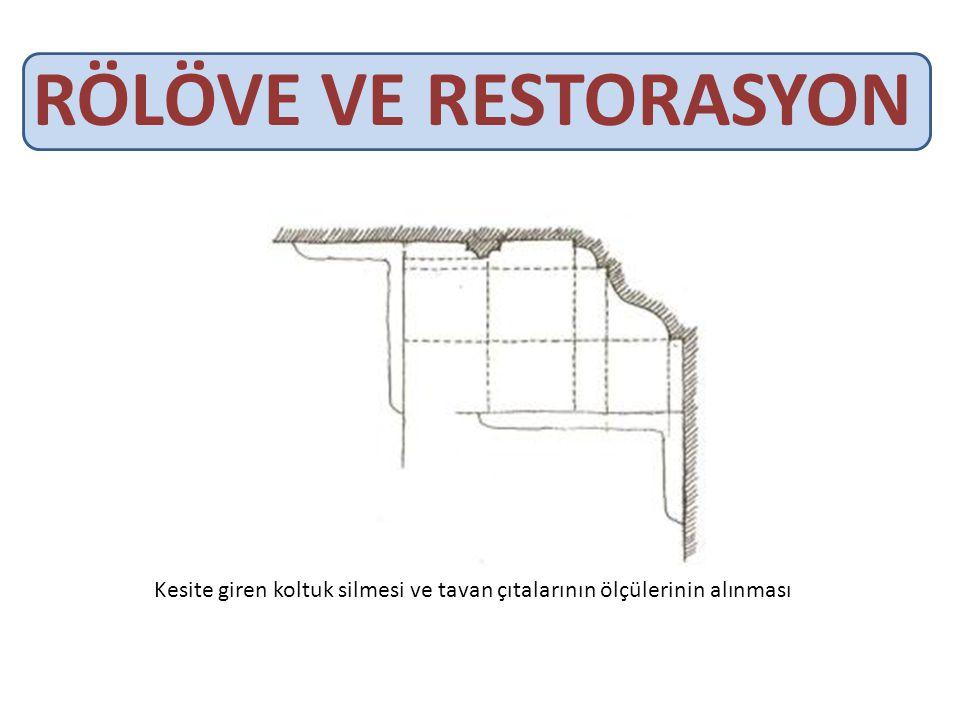RÖLÖVE VE RESTORASYON Kesite giren koltuk silmesi ve tavan çıtalarının ölçülerinin alınması