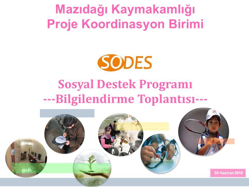 01 Mazıdağı Kaymakamlığı Proje Koordinasyon Birimi Sosyal Destek Programı ---Bilgilendirme Toplantısı--- 03 Haziran 2010