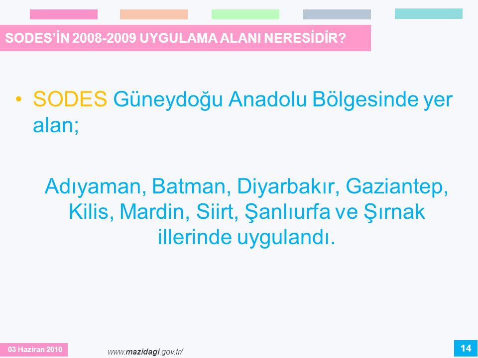 03 Haziran 2010 www.mazidagi.gov.tr/ SODES'İN 2008-2009 UYGULAMA ALANI NERESİDİR? •SODES Güneydoğu Anadolu Bölgesinde yer alan; Adıyaman, Batman, Diya
