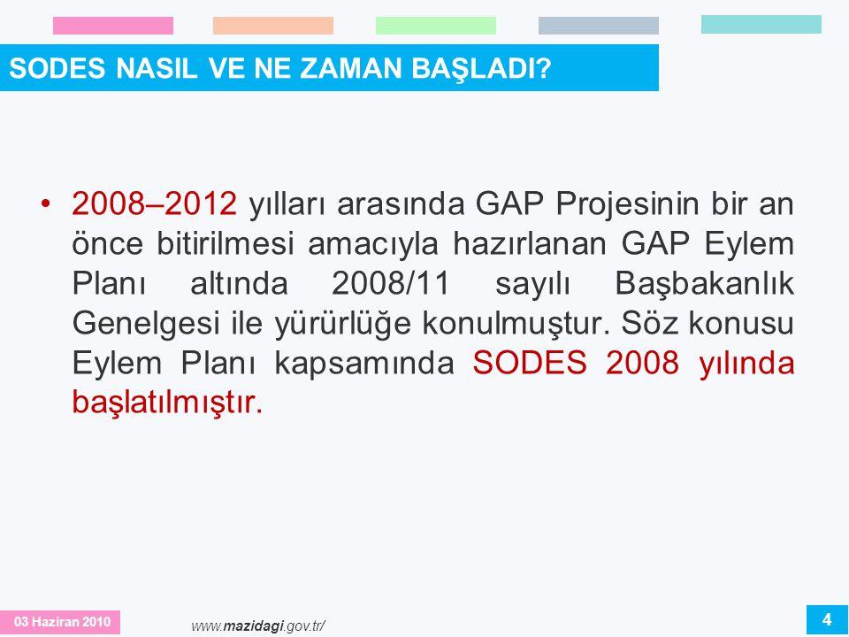03 Haziran 2010 www.mazidagi.gov.tr/ SODES GENİŞLİYOR 2008 ve 2009 yıllarında GAP kapsamındaki 9 ilde yürütülen SODES'in 2010 yılından itibaren; GAP(Güneydoğu Anadolu Projesi), DAP (Doğu Anadolu Projesi) bölgelerinde yer alan sosyo- ekonomik gelişmişlik seviyesi düşük ve toplumsal bütünleşme sorunu yaşayan illerde de yaygınlaştırılması planlanmaktadır.
